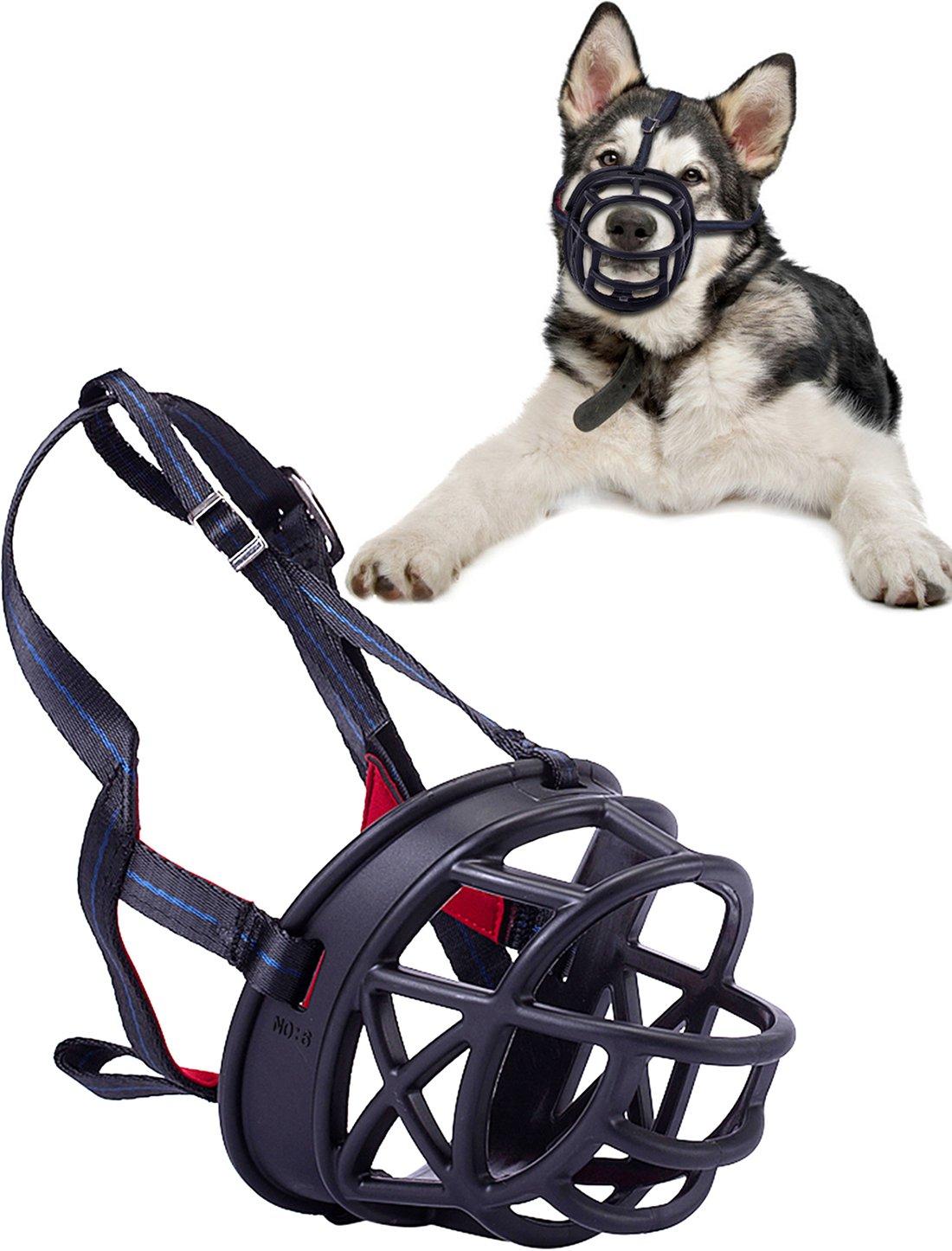 Freezx Luxury Dog Muzzle - Anti Biting Barking Chewing - Soft Silicone Rubber Basket Mask Muzzle - Adjustable for Small Medium Large Dog Safety (Size 4)
