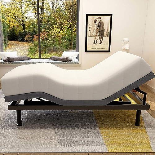 Adjustable Bed Base Frame Smart Electric Beds Foundation Queen, Gray