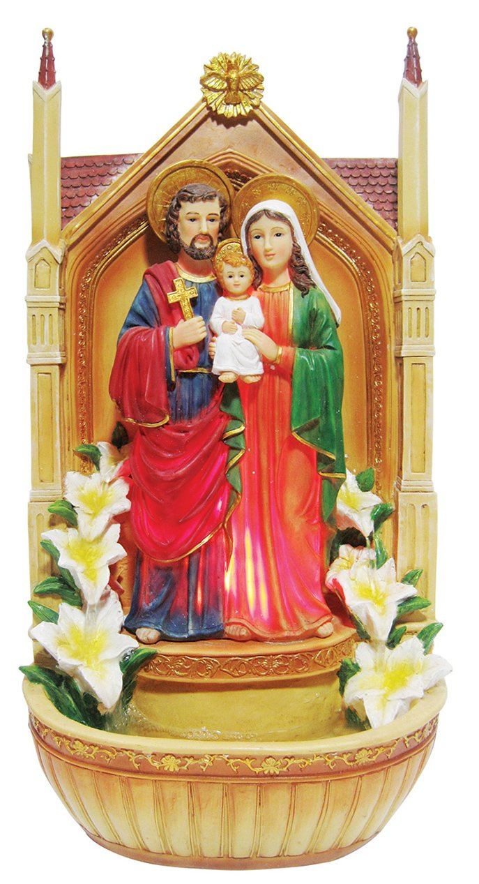 19 Inch Holy Family with Light and Water Fountain Garden Statue Garden Decoration