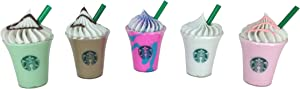 18 Inch Doll 5 Frappuccino Drink Food Accessories Set Unicorn, Vanilla, Chocolate, Mint, Strawberry