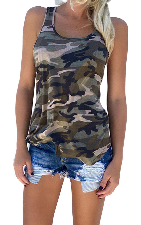 Haijie Women's Camouflage Print Sleeveless Shirt Tank Tops, Army Green, Large