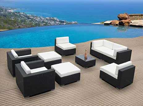 Outdoor Patio Furniture Wicker Sofa Sectional 9pc Resin Couch Set