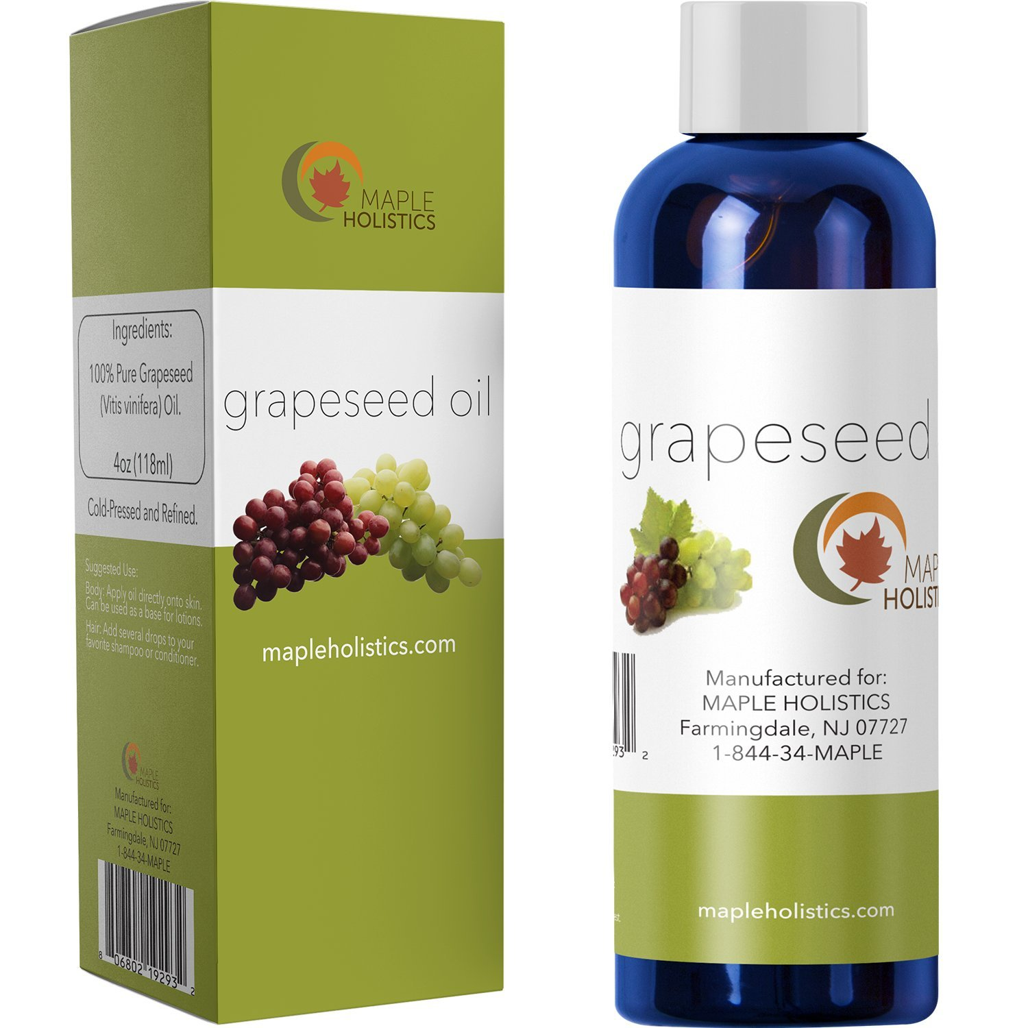 Pure Grapeseed Oil for Hair, Face & Acne - Cold Pressed & 100% Pure for Highest Efficacy - Great Massage Oil Base - Use to Prevent Aging & Wrinkles - 4 Oz - USA Made By Maple Holistics
