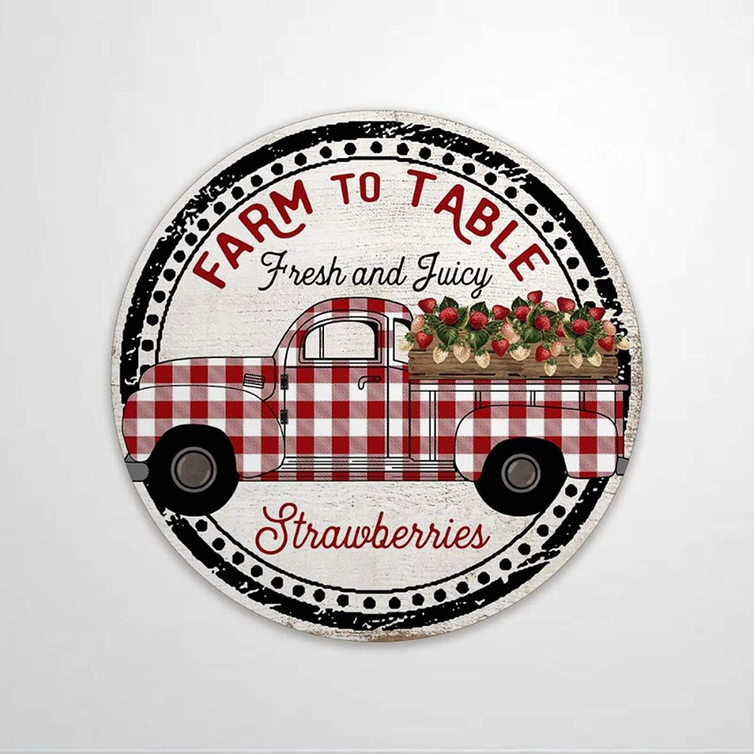 godblessign Farm to Table Strawberry Round Metal Sign 12