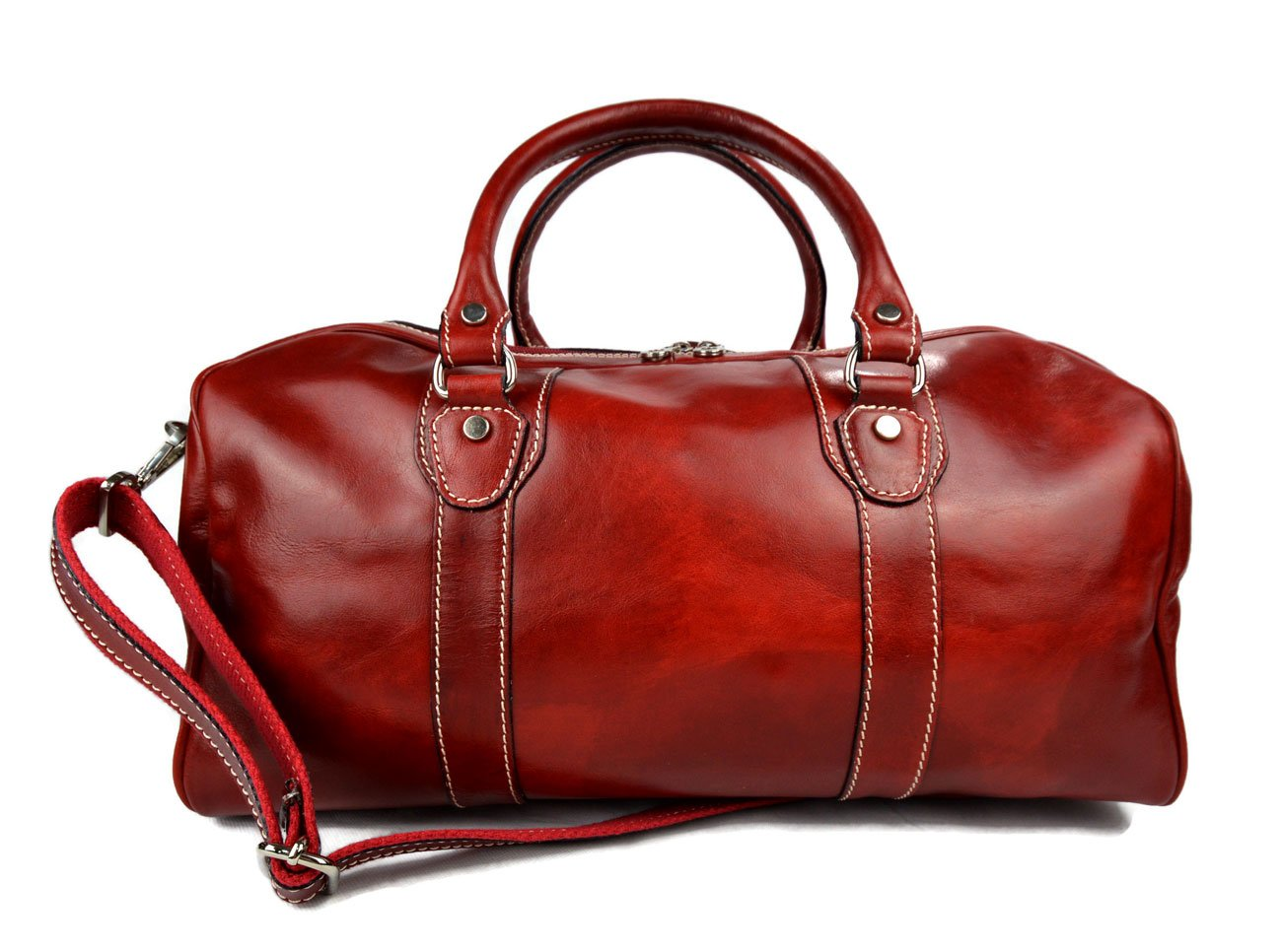 Leather duffle bag genuine leather travel bag overnight bag for men and women weekender leather bag cabin leather bag made in Italy red