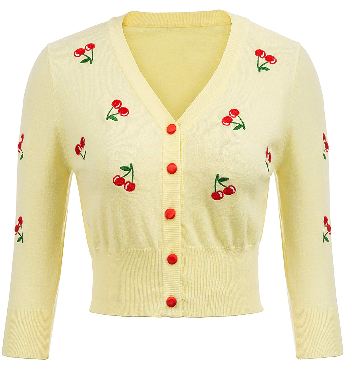 Vintage Sweaters, Retro Sweaters & Cardigan Ladies Belle Poque Womens 3/4 Sleeve V-Neck Button Down Cherries Embroidery Cropped Cardigan Sweater Coat $23.99 AT vintagedancer.com