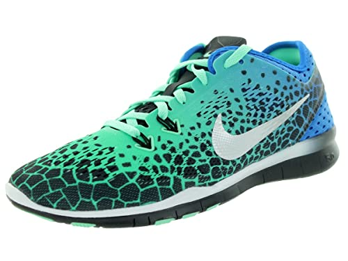 sale retailer c0331 71741 NIKE Women s WMNS Free 5.0 TR Fit 5 PRT, Black Metallic Silver-Green