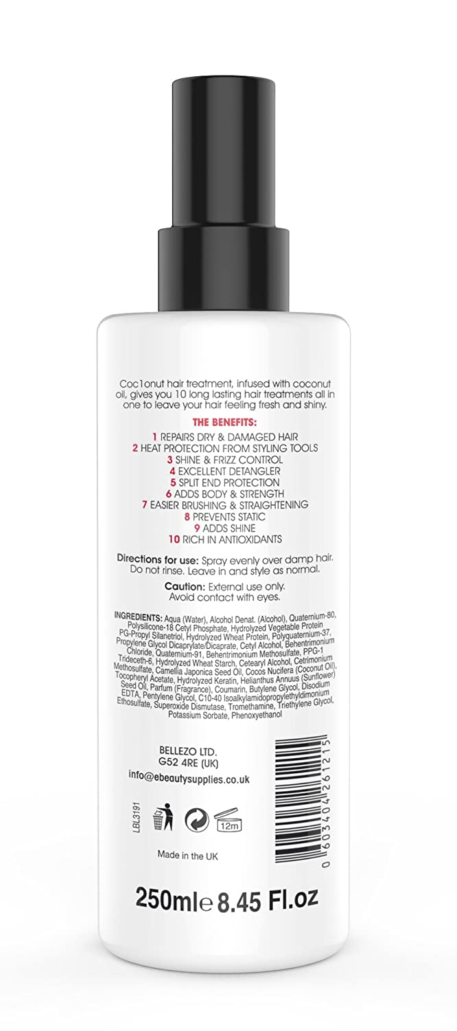 Coconut Heat Protection Spray, Dry Hair Treatment - 10 Benefits, Anti - Frizz, UV Protection, Add Body, All In One Styling Treatment - 250 Millilitres: ...