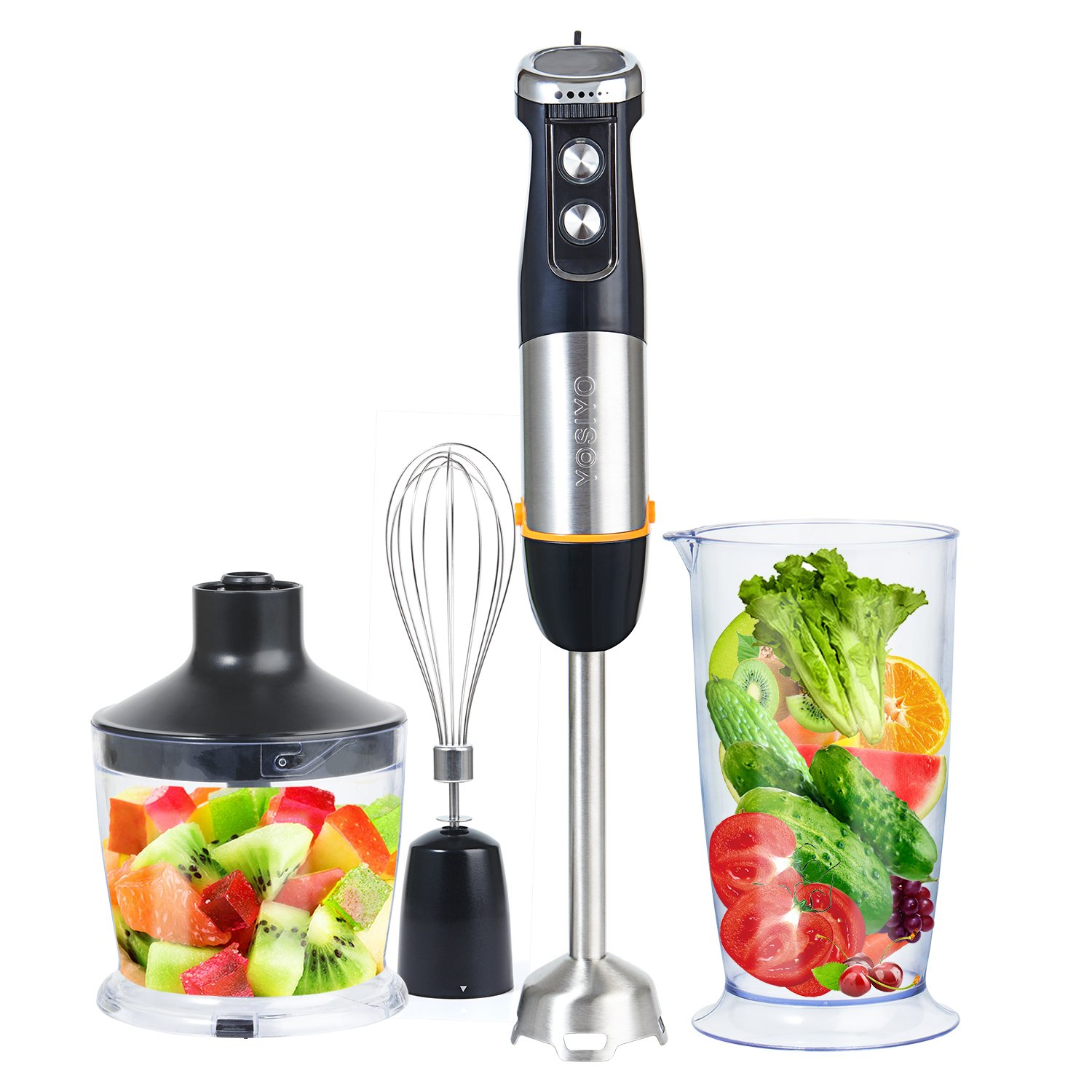 Hand Blender Set 500W Stainless Steel Hand-Held Blender, 6 Speed and Turbo Setting with Whisk, Chopper, Measuring Cup Accessories for Baby Food, Vegetable, Kitchen - Black YOSIYO Cody 2048-US