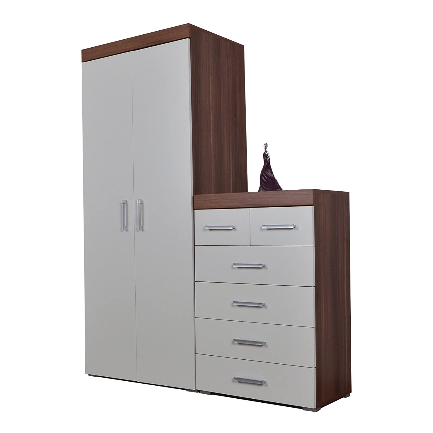 DP 2 Door Wardrobe & 4+2 Chest Drawers in White & Walnut Bedroom Furniture 6 Set