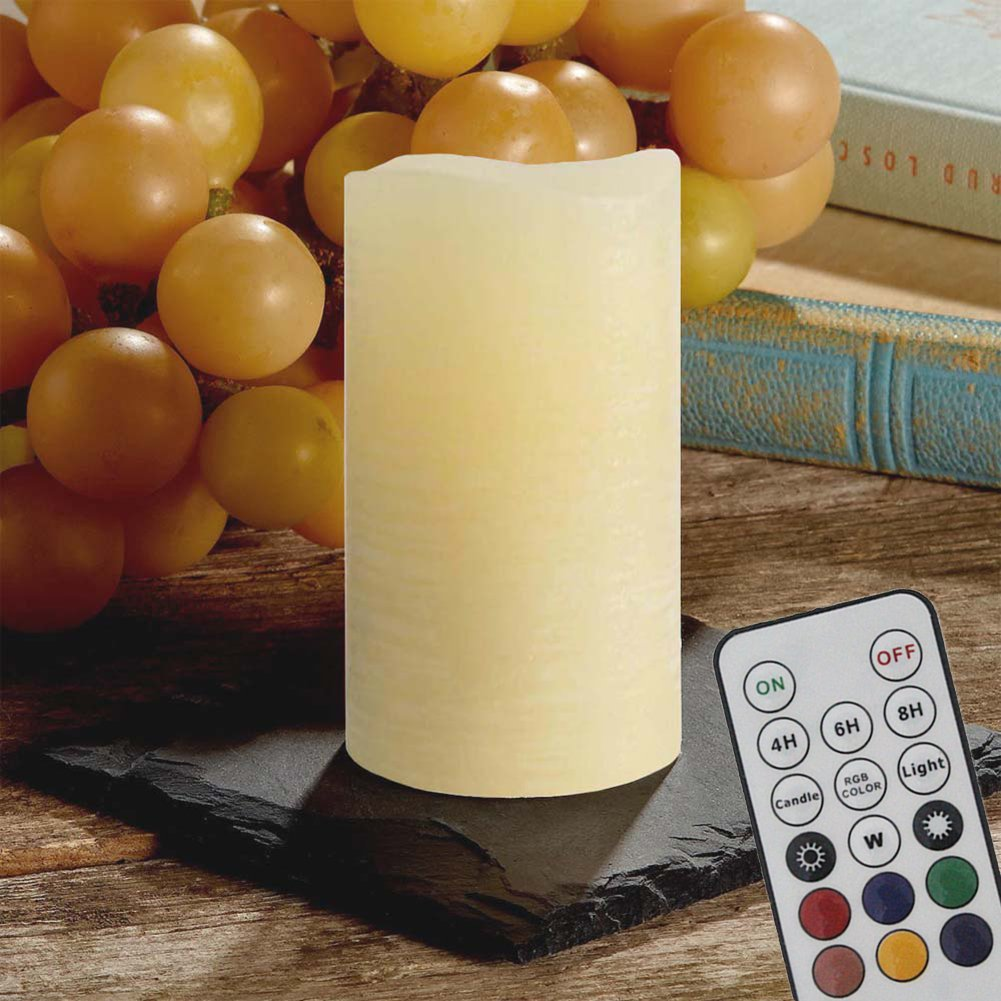 Flameless Candles Flickering Real Wax Candles Lights Battery Operated with Remote, Timer, Dimmer, Color Changer and Mode Changer for Seasonal & Festival and Home Decoration (8''_White)