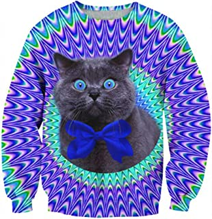 GOUDAN Herren Langarm Pullover 3D Druck Langarm Rundhals Sweatshirt Pullover Casuals,C,M