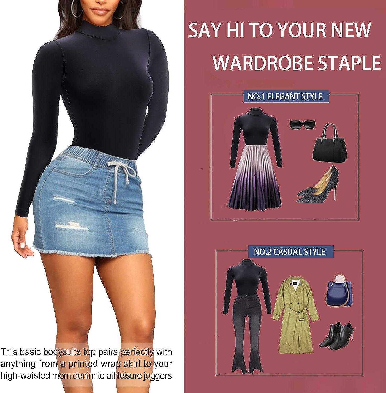 Irisnaya Long Sleeve Bodysuit High Neck Tops for Women Body Shaper Thong Basic Bodycon Stretchy Leotards Jumpsuits