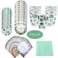 Amycute 93 Piezas 16 Invitados Vajilla de Hawaianos Cumpleaños Adultos, Vajilla Diseño Flamenco Verde Vasos, Platos…