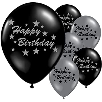 10 Black And Silver Happy Birthday Party Balloons