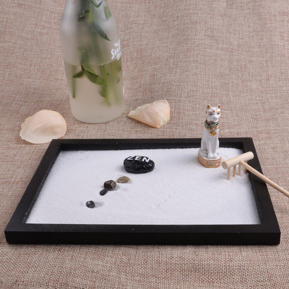 Following Juego de Meditaci/ón de Arena con Dise/ño de Gato Egipcio Zen para Decoraci/ón de Jard/ín Espiritual