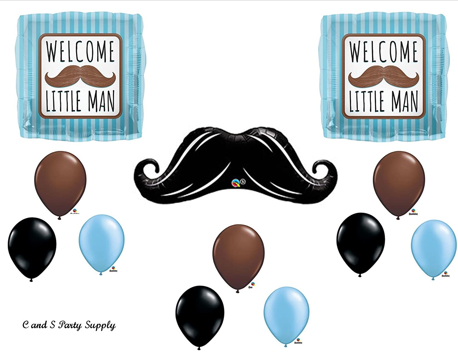 Amazon.com: WELCOME LITTLE MAN MUSTACHE BABY SHOWER Balloons Decorations  Supplies....12 Pieces!: Kitchen U0026 Dining