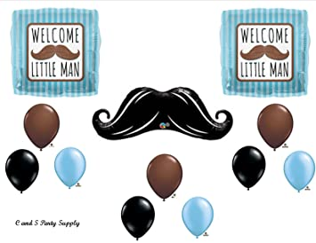 WELCOME LITTLE MAN MUSTACHE BABY SHOWER Balloons Decorations Supplies....12  Pieces!