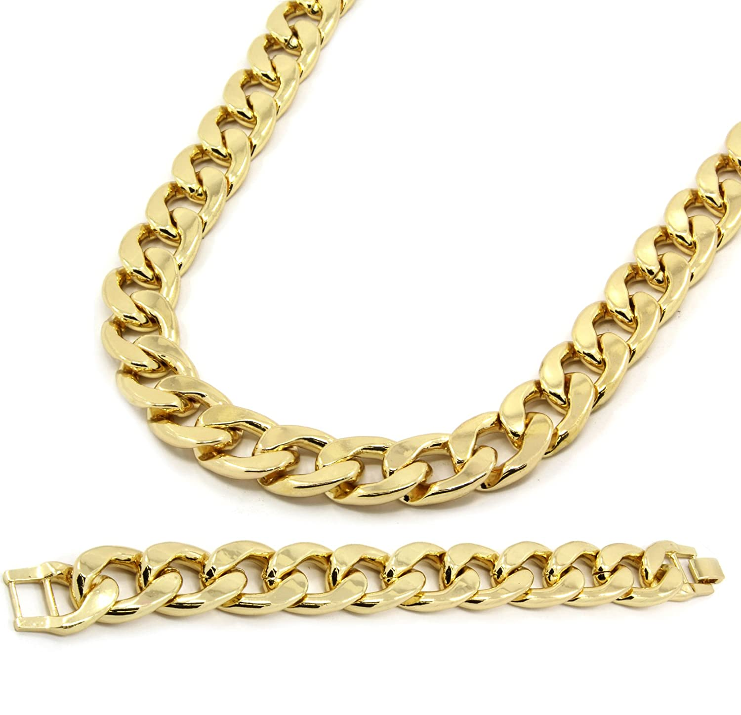 Bundle offer 18k gold plated amp white gold plated necklace 2 ring - Mens Gold Plated Cuban Hip Hop Miami Necklace Chain Bracelet 16mm 30 Inch Amazon Com