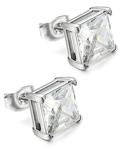 f9a368aca2cc6 Amazon.com: Thunaraz CZ Stud Earring Stainless Steel Ear Piercing ...