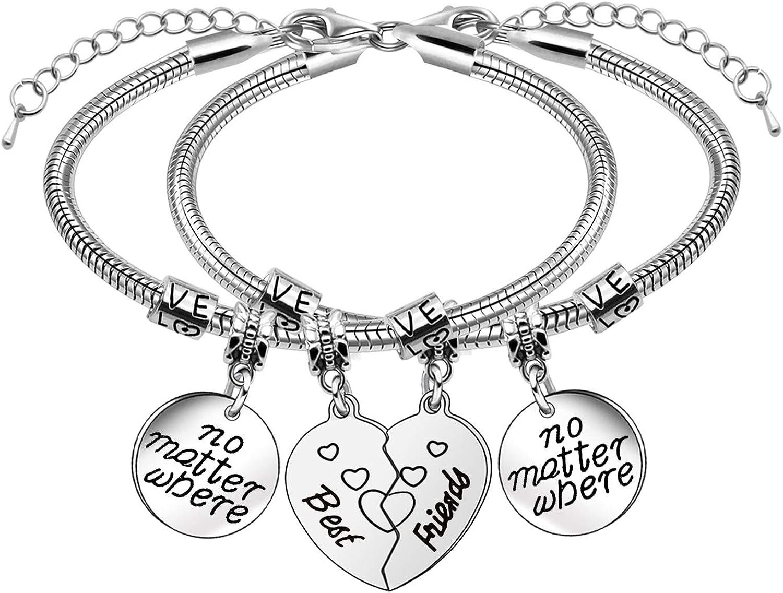 2 pulseras de amistad con forma de corazón para mejores amigos.