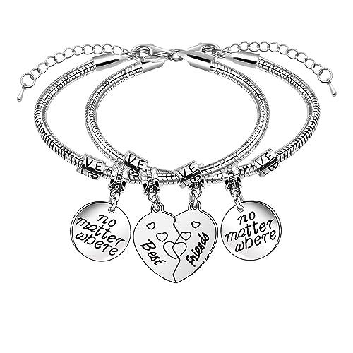 92c22880a1f7 2 pulseras de amistad con forma de corazón para mejores amigos.  Amazon.es   Joyería