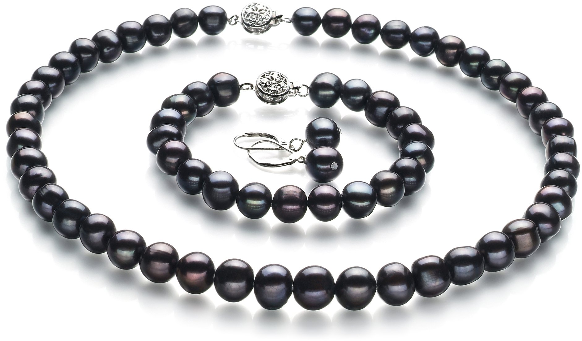 PearlsOnly - Kaitlyn Black 8-9mm A Quality Freshwater Cultured Pearl Set-18 in Princess length