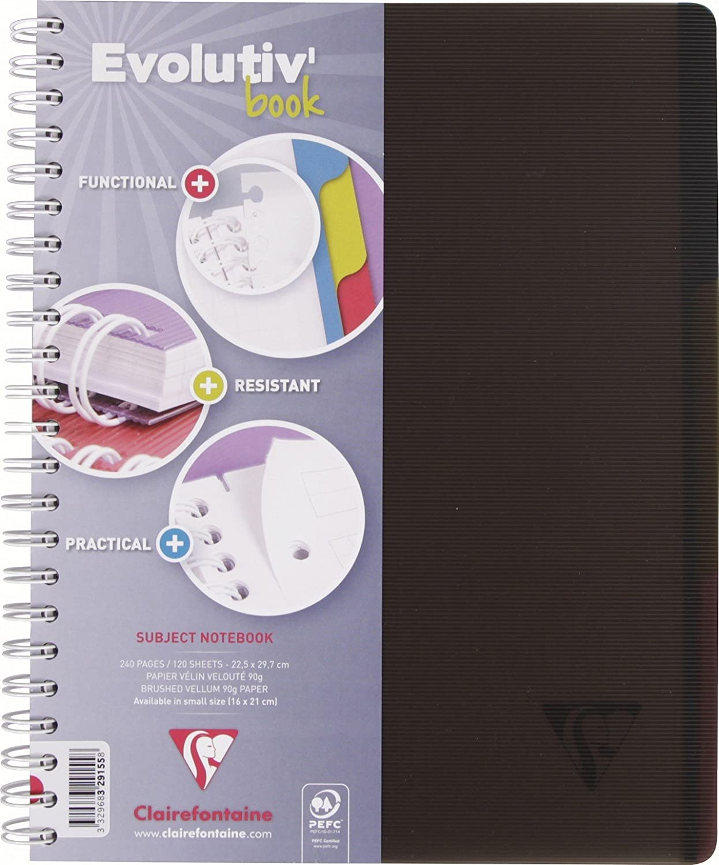Clairefontaine Linicolor 329167 C evolutiv' Book quaderno a spirale 240 pagine staccabili 4 fori, in piccoli quadretti Riprendi con 3 divisori 90 g 22,5 x 29,7 cm nero intenso 5x 29 7cm nero intenso 329167C
