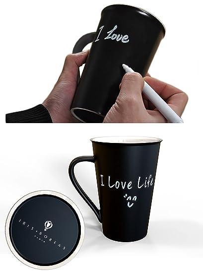 Iris&Boreas [Taza pizarra Personalizada] [Tamaños grande] con [bolígrafo blanco] para Escribir Mensajes, Palabras o Dibujar al infinito [Mug ...