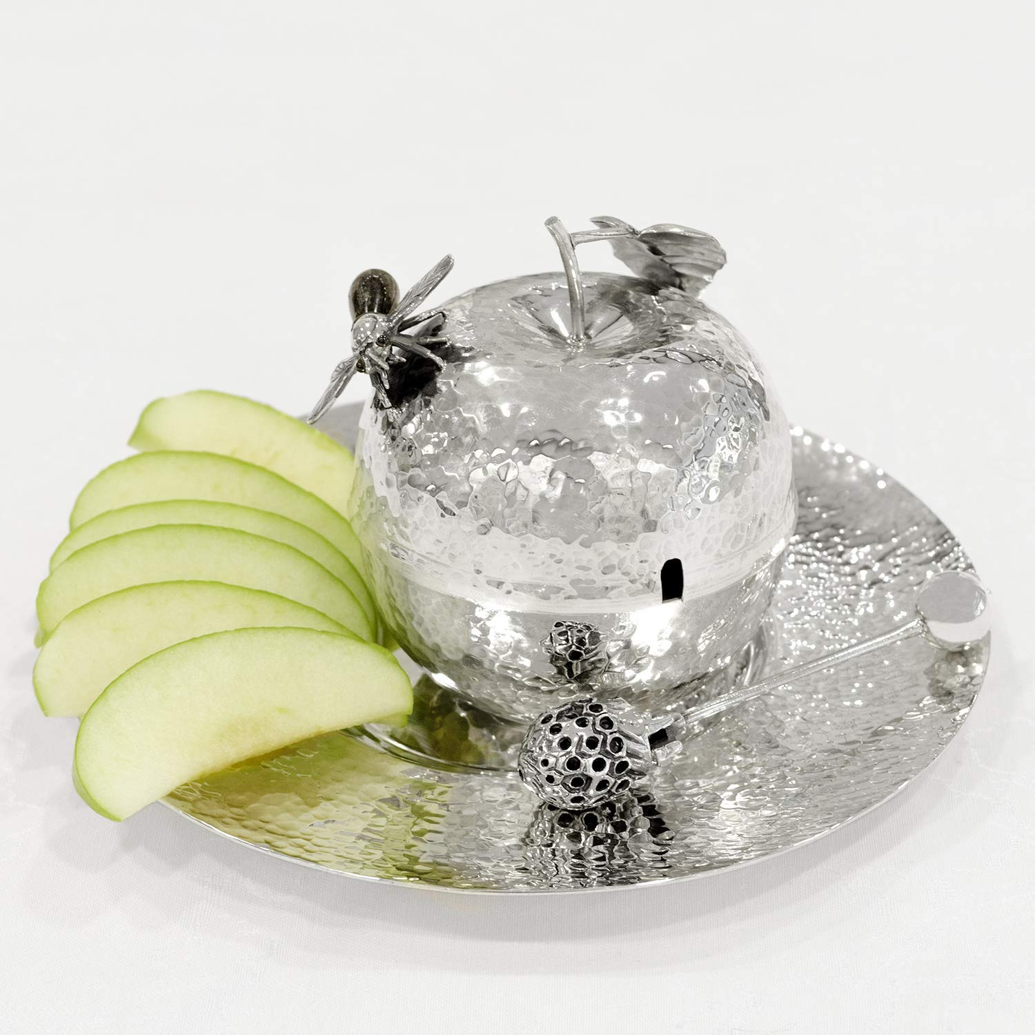 Sterling silver Hammered Honey Dish with Plate Apple shape Rosh Hashanah gift