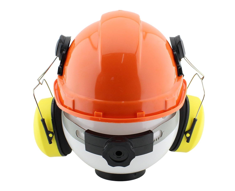 Casco profesional forestal con protectores para la cara y los oídos, también como casco para la construcción: Amazon.es: Bricolaje y herramientas