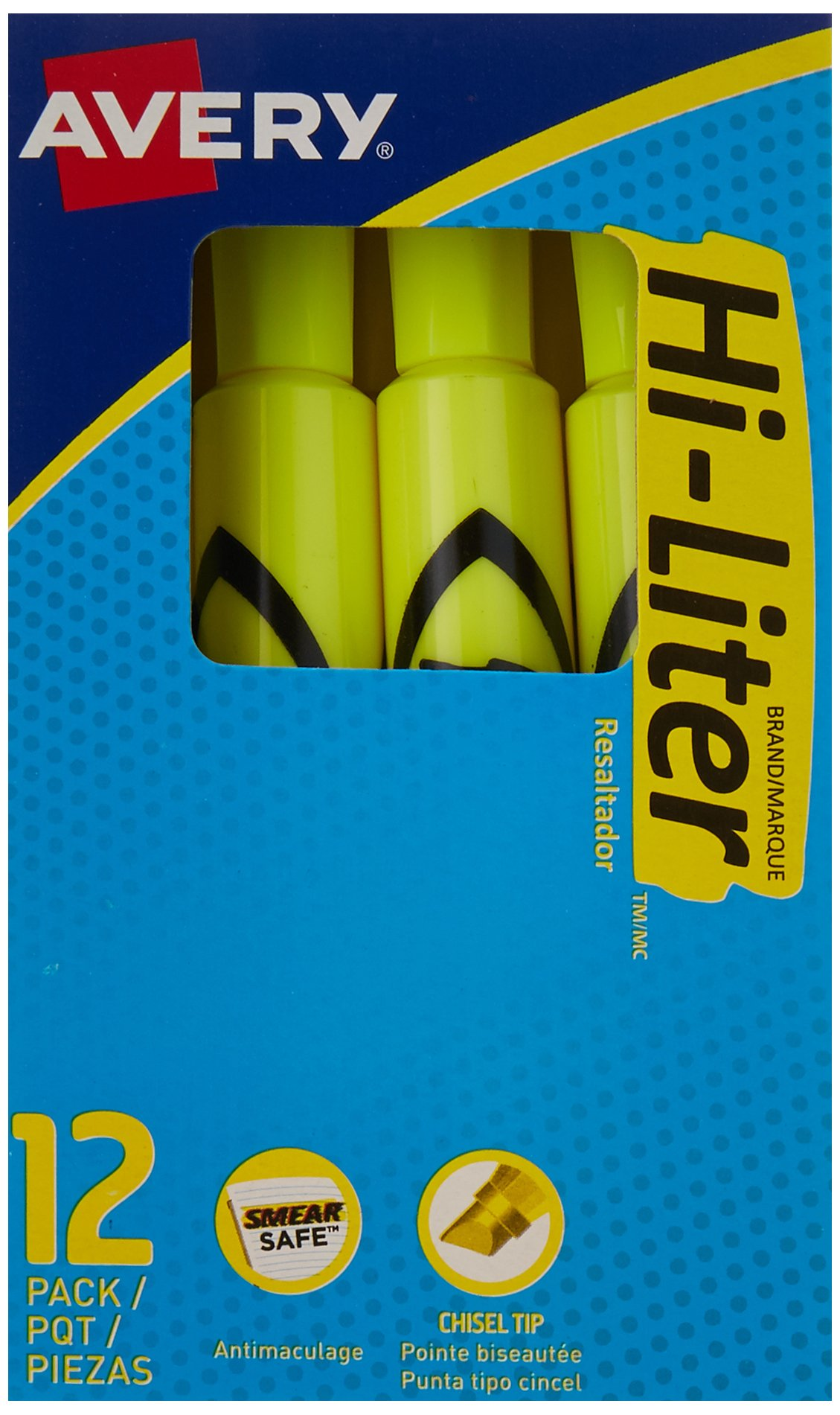 Avery HI-LITER Desk-Style Highlighters, Fl. Yellow, Case Pack of 144 (24000)