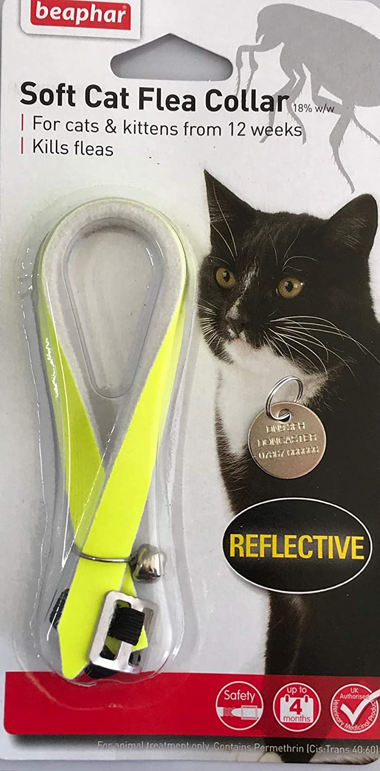 Beaphar Reflective Cat Flea Collar Collars With Bell With Engraved Pet Id Tag Amazon Co Uk Pet Supplies