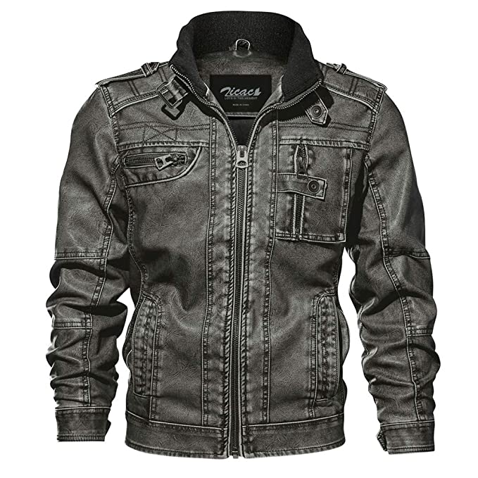 cff3c30b3b Zicac Mens  Pu Leather Jackets Vintage Stand Collar Washed Biker Jacket  Motorcycle Rider Coat Outerwear  Amazon.co.uk  Clothing