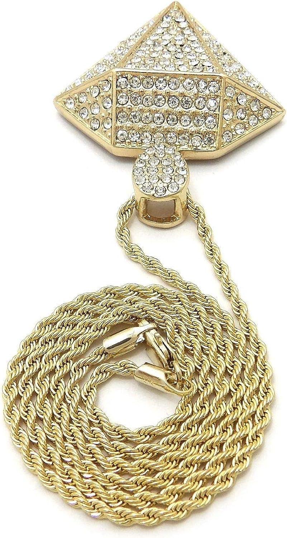 NYFASHION101 Stone Stud Diamond ShapePendant with 2mm Rope Chain Necklace
