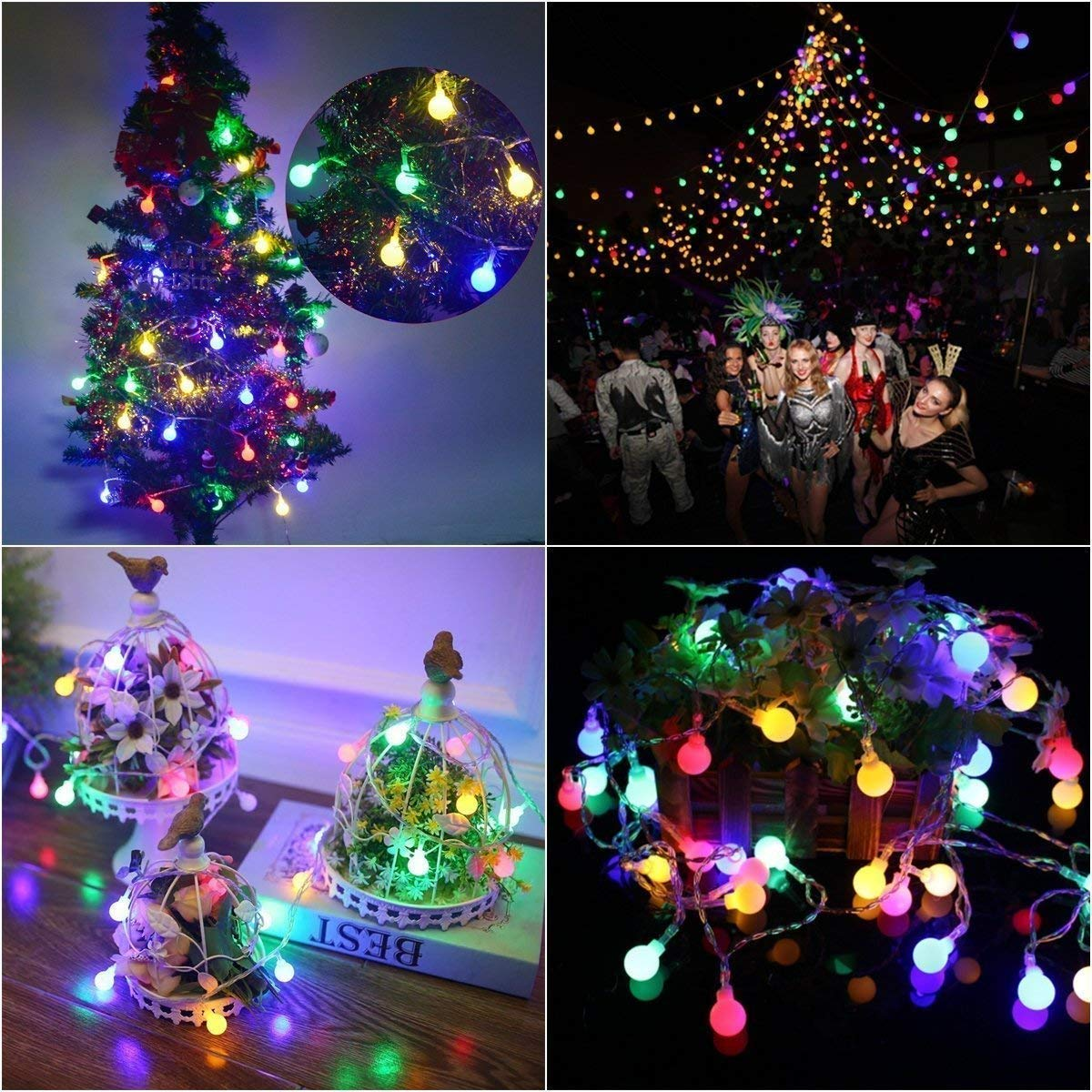 B-right 100 led Globe String Lights with Remote Control Outdoor Waterproof Ball Starry Fairy Lights for Party Fairy Lights Plug in 100led Fairy Lights Plug in Patio Bedroom
