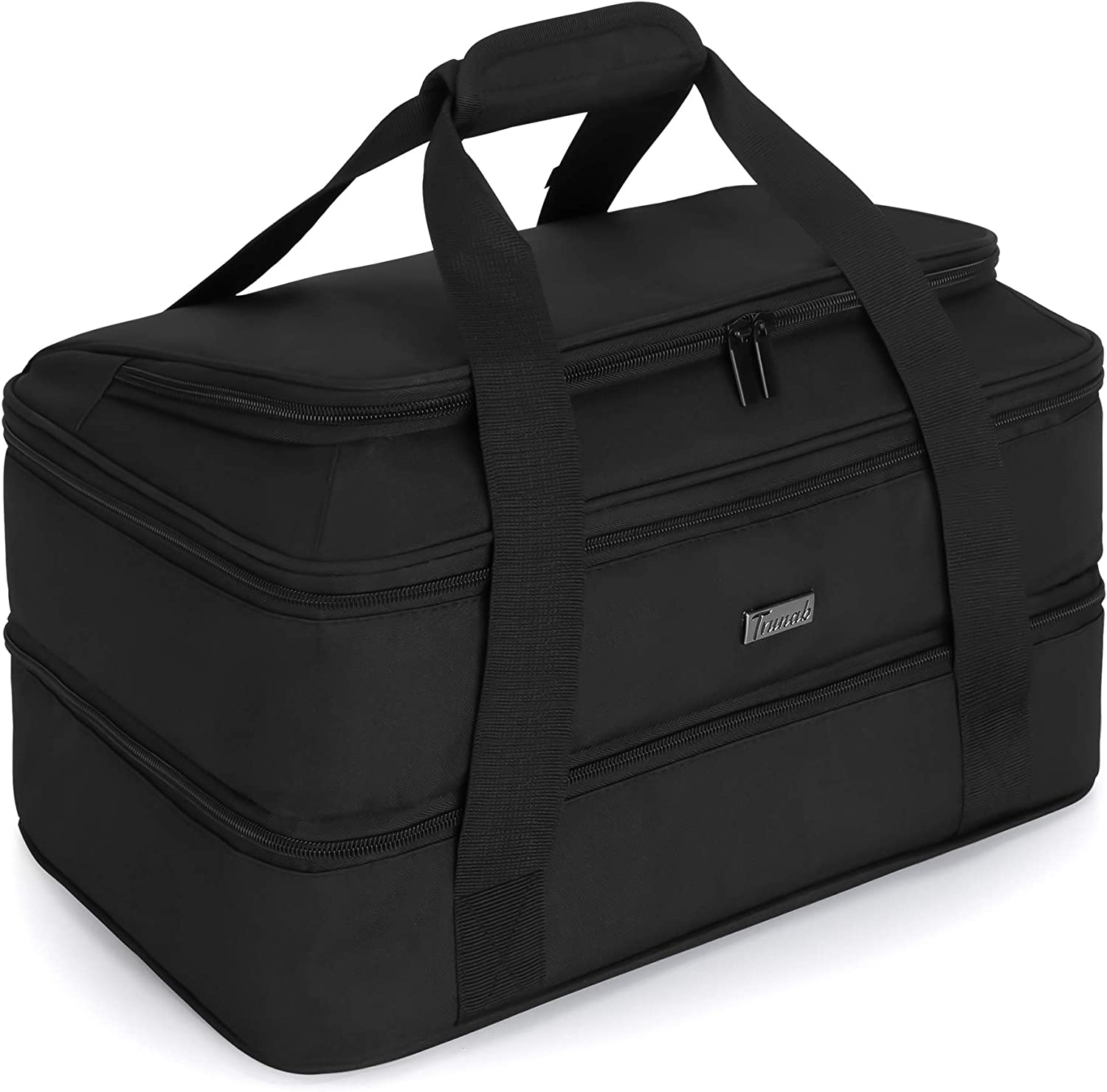 Trunab Double Decker Casserole Carrier for Hot or Cold Food Insulated Thermal Tote Bag for Picnic, Fits 9