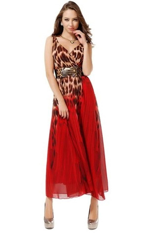 New Leopard print chiffon dress Slim Party Evening Dress with belt