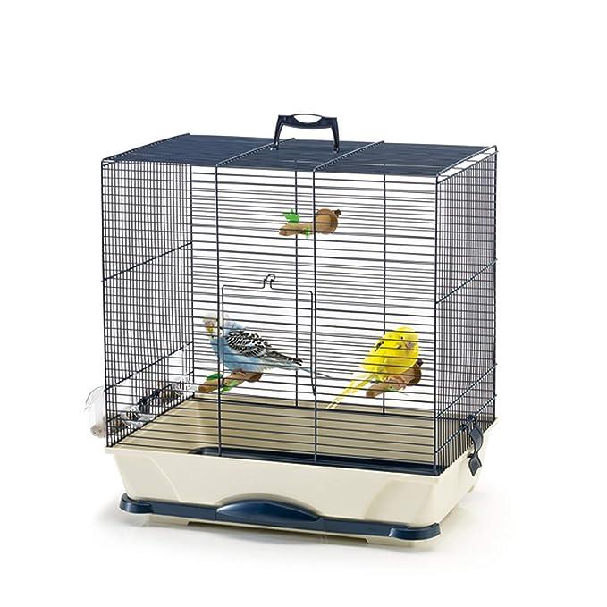 Primo - Jaula rectangular para pájaros (65 x 38 x 56.5cm) (Azul ...