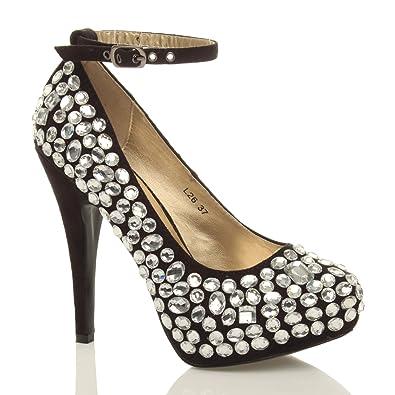 ad1aa5376ccc Ajvani Womens Wedding Platform high Heel Ladies Bridal Evening Prom Shoes  Size 3 36