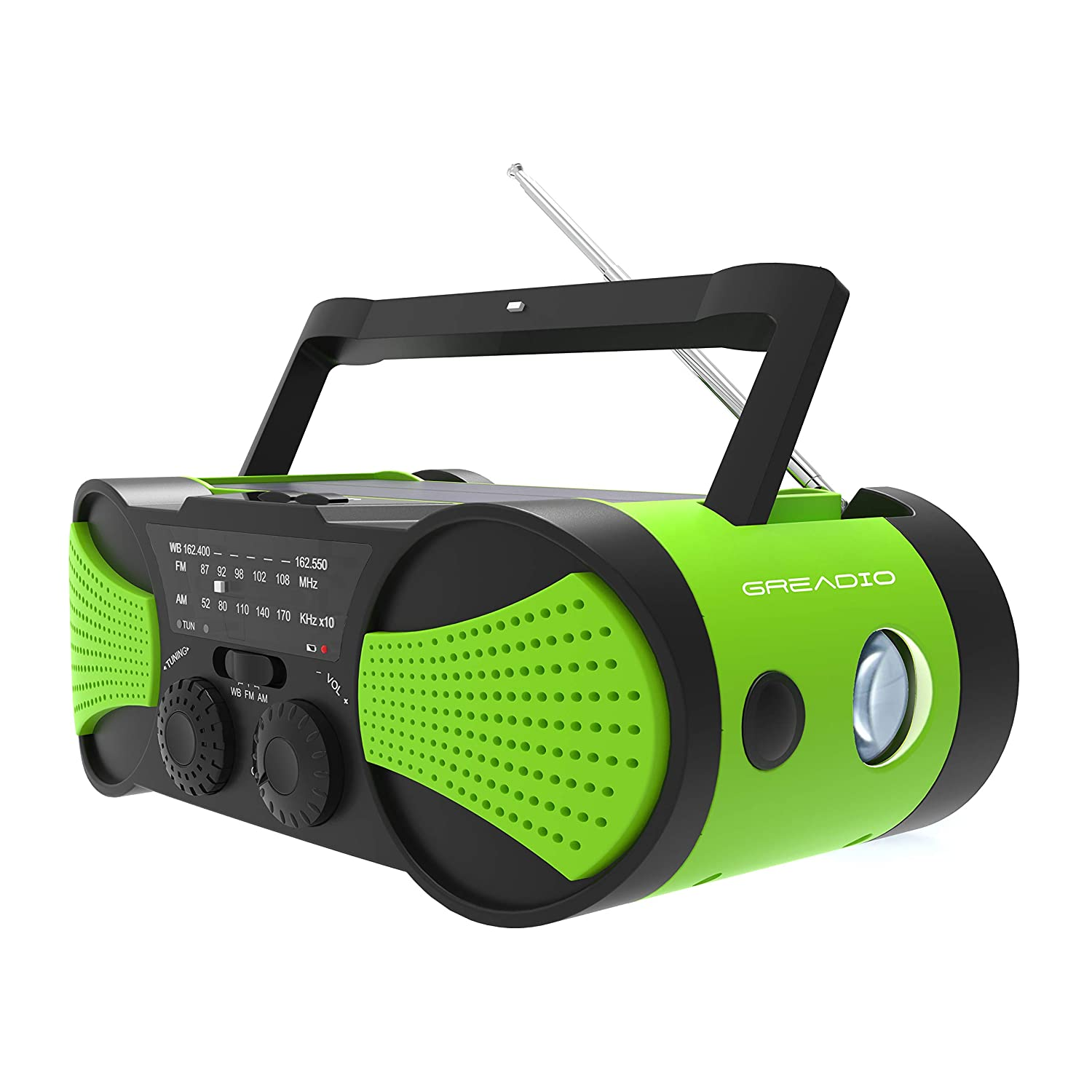 Emergency Weather Radio Hand Crank Self Powered AM/FM/NOAA Solar Radios with Rechargeable 4000mAh Power Bank, Audio Input, 1W Solar Panel, 3W Flashlight, Reading Lamp for Hurricanes, Tornadoes(New) Greadio GR-093