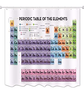 Getdigital periodic table shower curtain amazon kitchen home anamour periodic table of elements waterproof mildew resistant polyester fabric shower curtain for chemistry urtaz Images