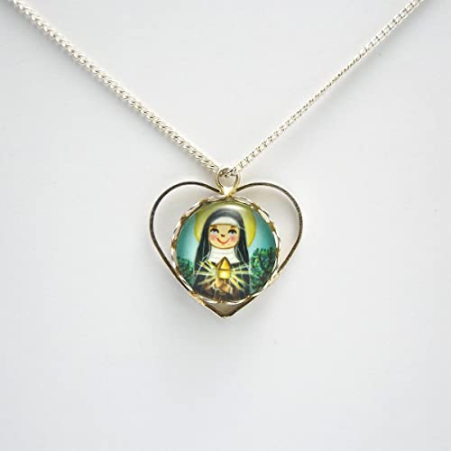 Amazon com: Saint Clare of Assisi necklace Saint medal Saint