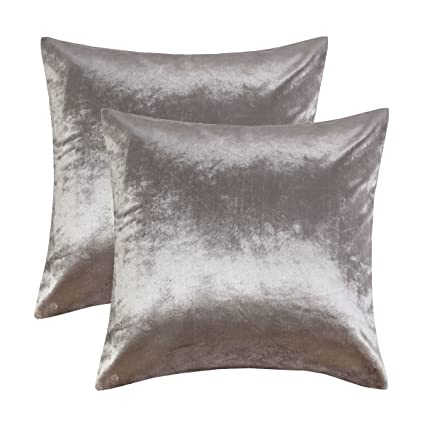 Amazon GIGIZAZA Silver Grey Velvet Decorative Throw Pillow Adorable Gray Decorative Bed Pillows