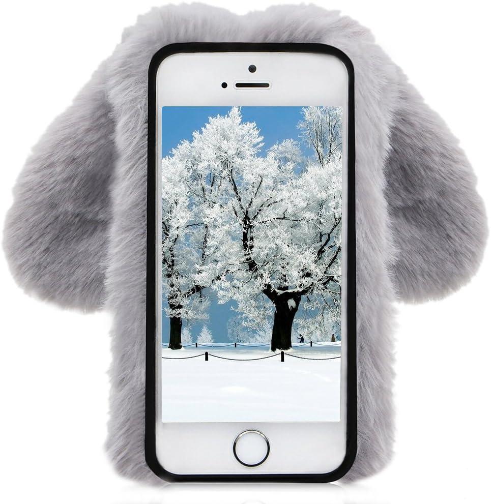 iPhone 8 Hiver Chaud Soft Etui Handmade Fluffy Villi avec Oreille de Lapin DesignLuxe Bling Strass TPU Silicone pour iPhone 7//8 Herzzer Fourrure Rose Paillette Coque pour iPhone 7 4,7 Pouces