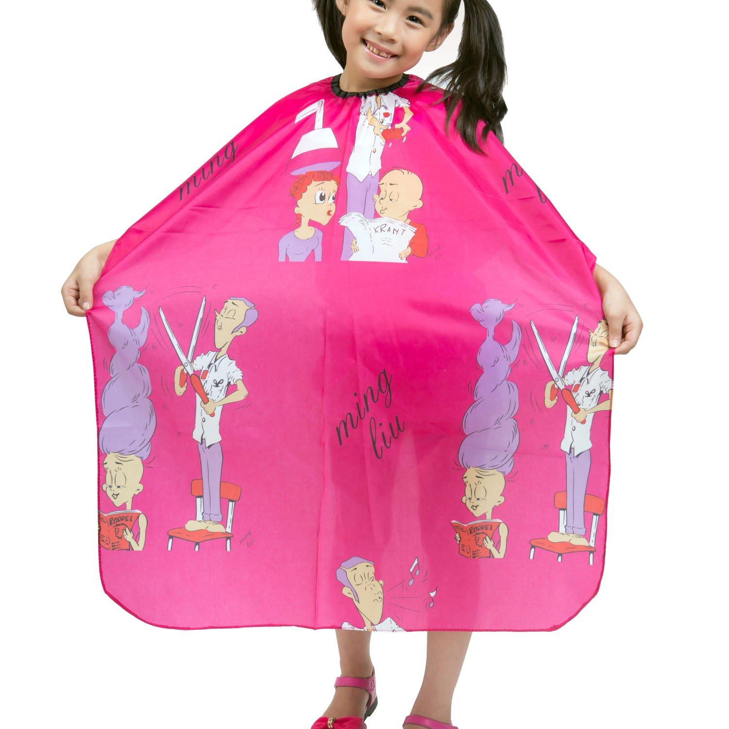 Colorfulife Child Hair Cutting Waterproof Cape Wai Cloth Barber Kids Hair Styling Cape Professional Home Salon Camps & Hairdressing Wrap Children Cartoon Men Hairdresser Pattern Capes (Hot Pink)