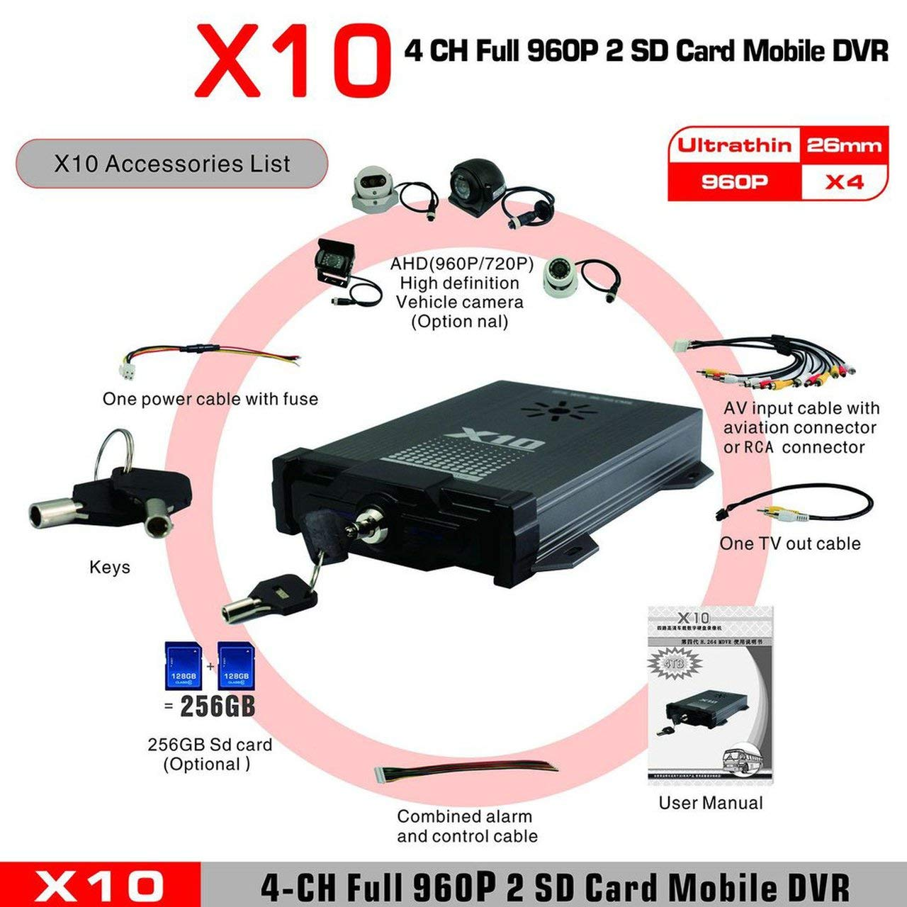 X10 for Android for iOS Live H.264 AHD 720P CMS Surveillance Mobile DVR 4 Channels Mobile DVR for Vehicles by NeanTak-us