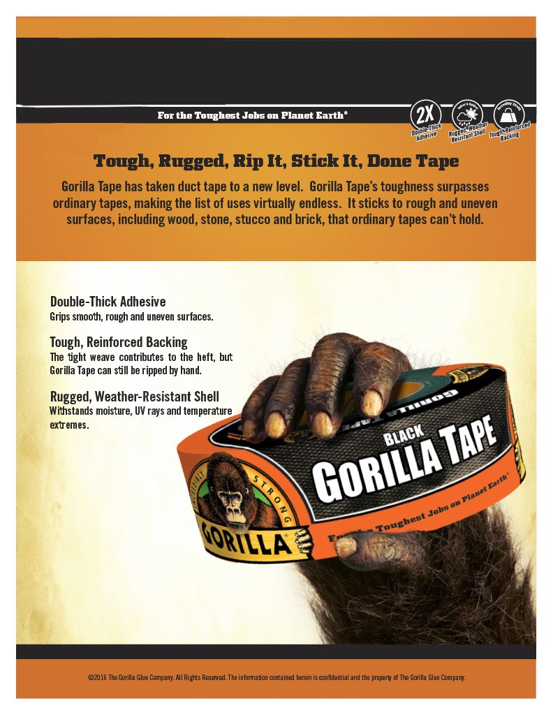 Gorilla Tape, Black Duct Tape, 1.88'' x 12 yd, Black, (Pack of 2) by Gorilla (Image #1)