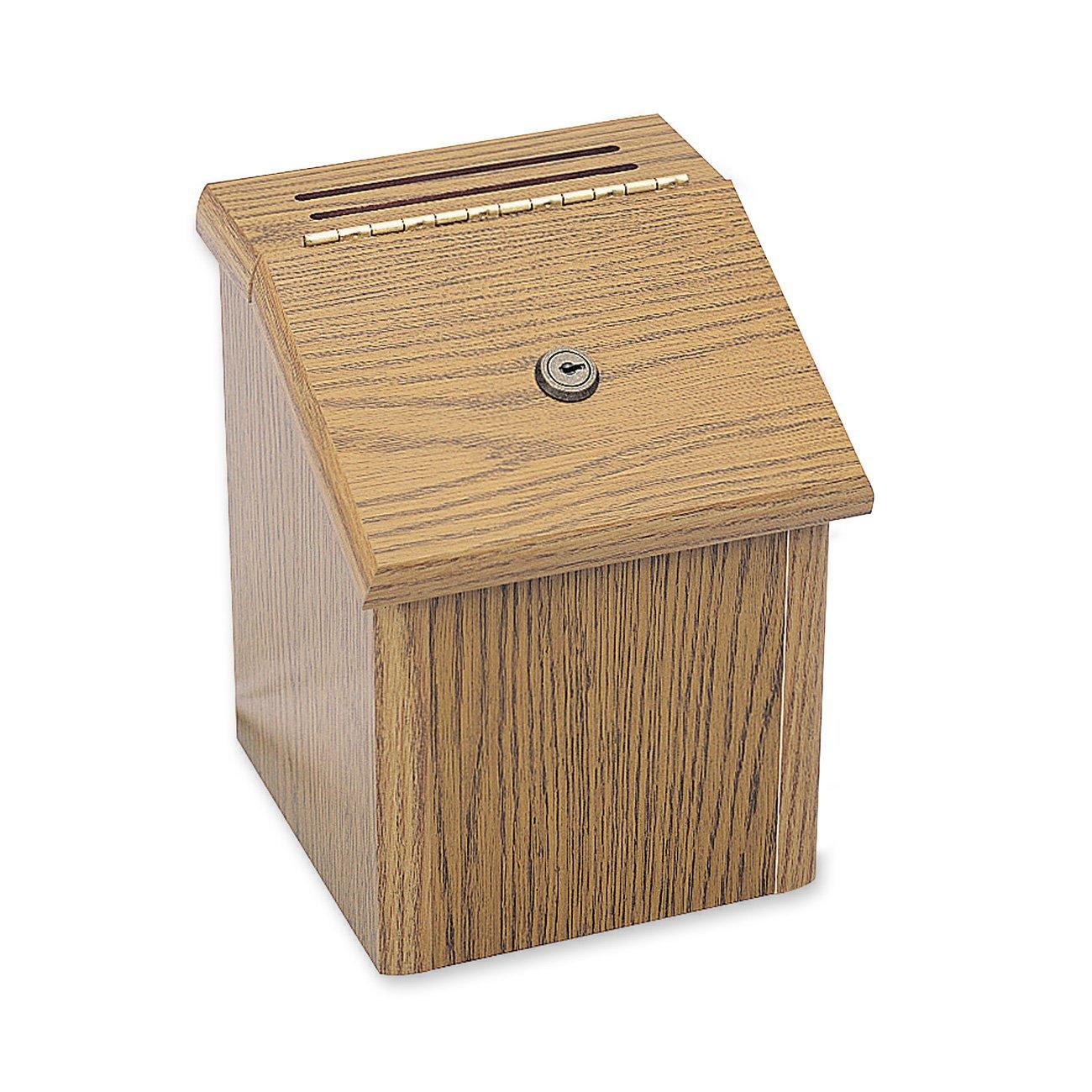 Safco Products 4230MO Wood Locking Suggestion Box, Medium Oak
