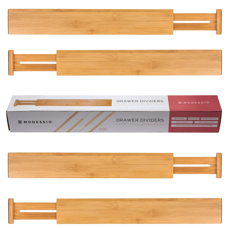 Modessio Bamboo Drawer Dividers Kitchen Organizer - Spring Adjustable Kitchen Utensil Drawer Organizer (Set of 4) - Office Drawer & Junk Drawer Organizer by Modessio